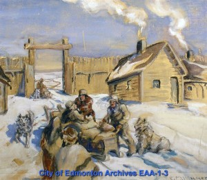 Father Lacombe Arrives from Lac Ste. Anne - Painting by Ella May Walker